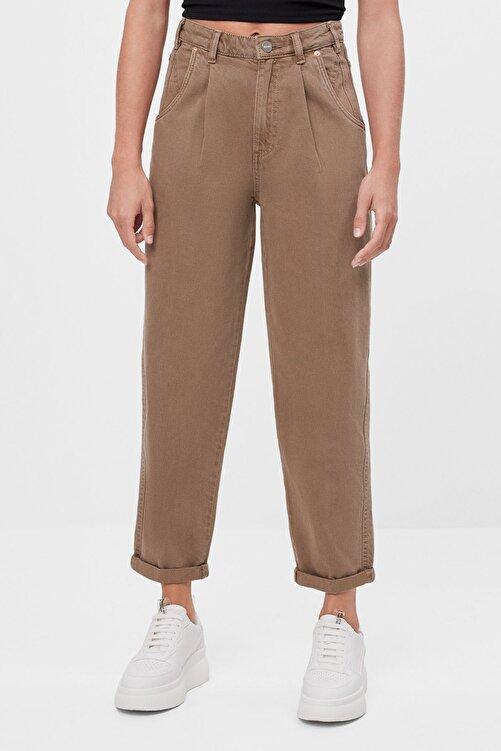 Bershka Kadın Kum Rengi Kıvrık Paçalı Slouchy Pantolon 1