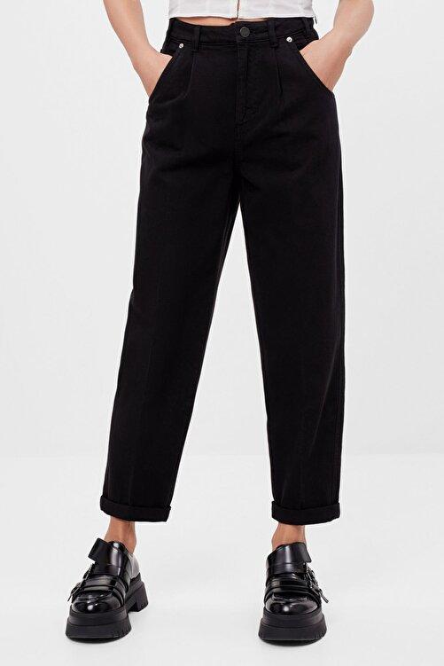 Bershka Kadın Siyah Kıvrık Paçalı Slouchy Pantolon 1