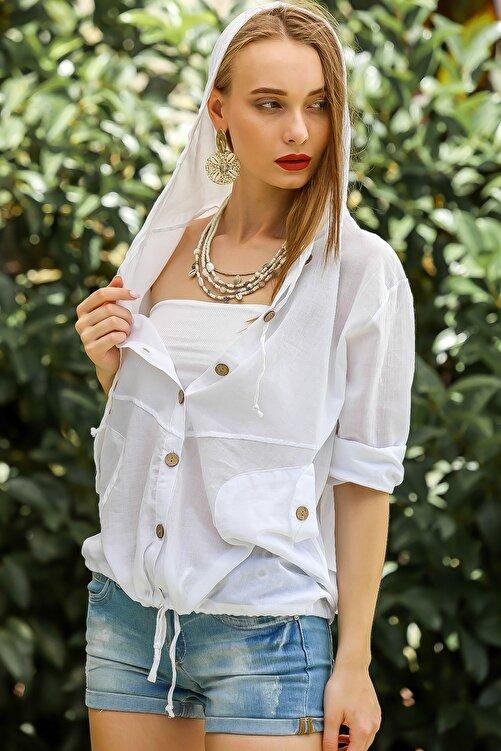 Chiccy Kadın Beyaz Casual Kapüşonlu Düğmeli Beli Ip Detaylı Büzgülü Yıkmalı Ceket M10210100Ce99339 1