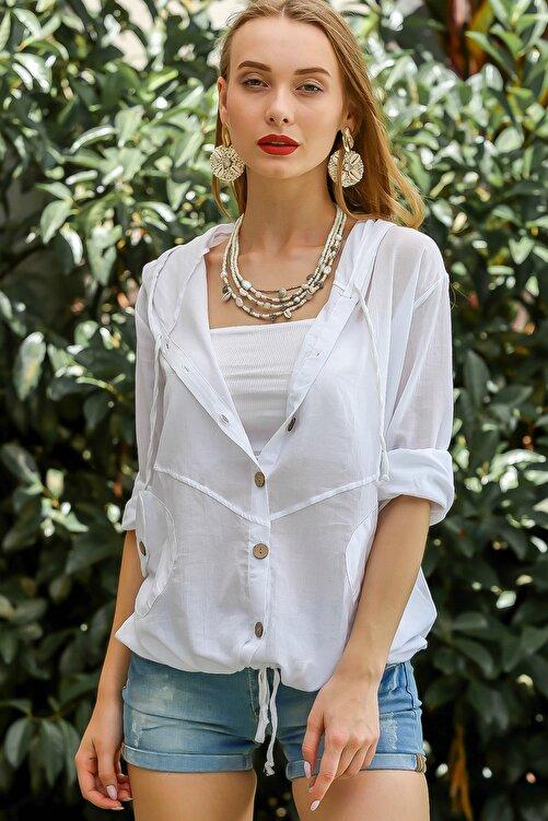 Chiccy Kadın Beyaz Casual Kapüşonlu Düğmeli Beli Ip Detaylı Büzgülü Yıkmalı Ceket M10210100Ce99339 2