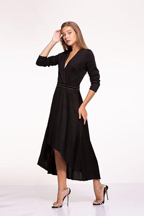Tuba Ergin Kadın Siyah Simli Işlemeli Kemer Detaylı Midi Rennie Elbise 2