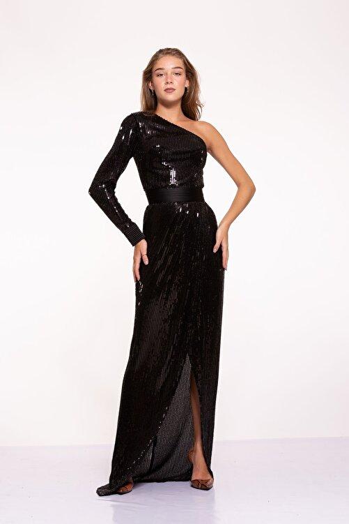 Tuba Ergin Kadın Siyah Komple Boncuk Işlemeli Nervür Kemer Detaylı Tek Kol Yırtmaçlı Maxi Trina Elbise 1