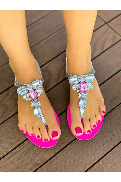 Oblavion Rio Fuşya Gümüş Taşlı Sandalet 1