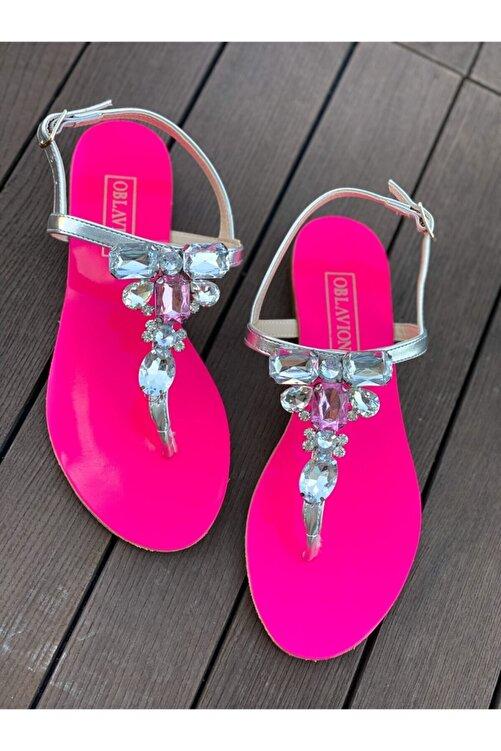 Oblavion Rio Fuşya Gümüş Taşlı Sandalet 2