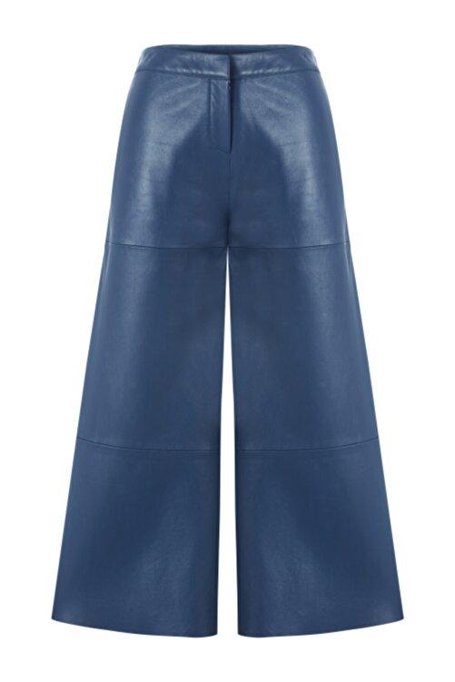 Meltem Özbek Kadın Düz Paça Deri Pantolon 1