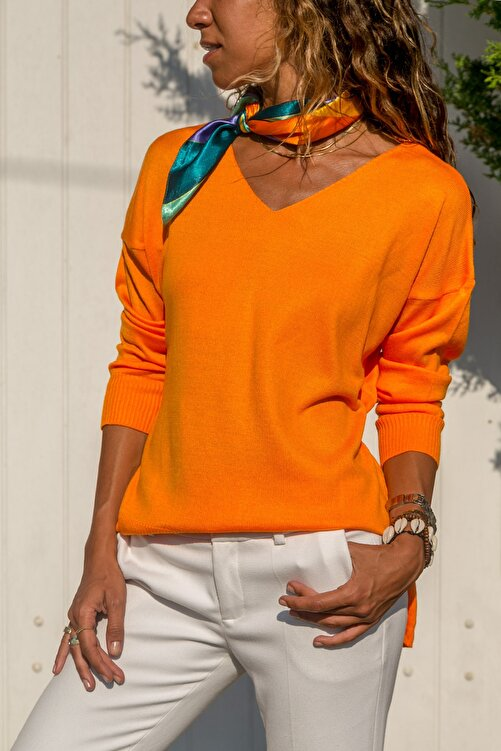 Güneşkızı Kadın Turuncu V Yaka Basic Kazak GK-CCKYN1001 2