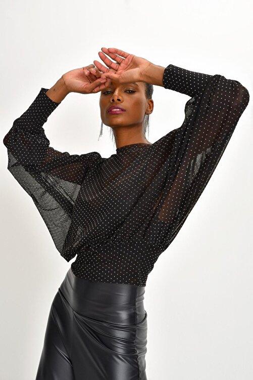 Quincey Kadın Siyah Puantiyeli Tül Bluz 1