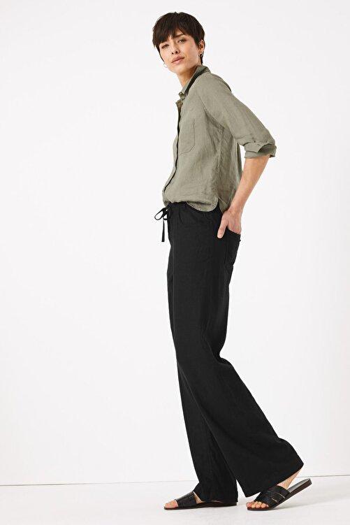 Marks & Spencer Kadın Siyah Keten Wide Leg Pantolon T57007127 2