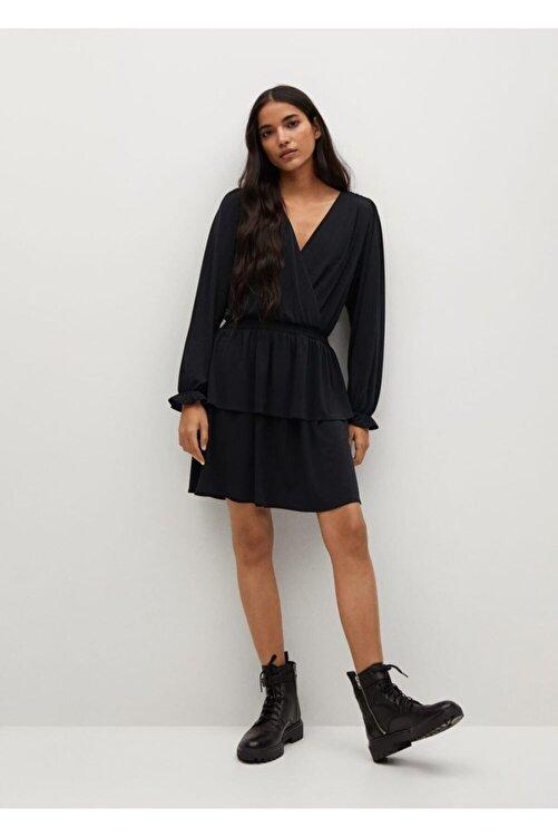 MANGO Woman Anvelop Yakalı Uzun Elbise 2