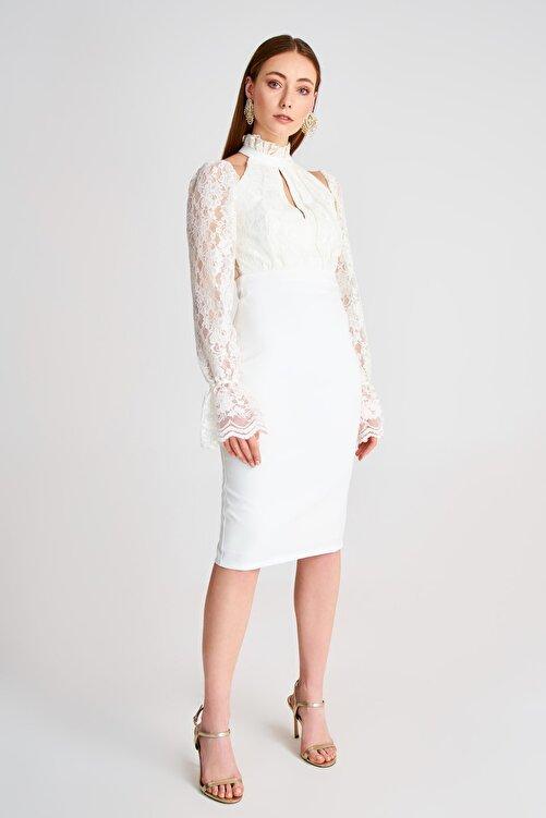 TRENDYOLMİLLA Ekru Dantel Detaylı Elbise TPRSS19UT0067 1
