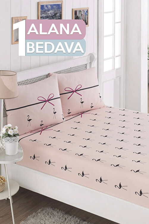 Ev & Ev Home Çift Kişilik 1 Alana 1 Bedava Lastikli Çarşaf Seti Flamingo Pudra 1
