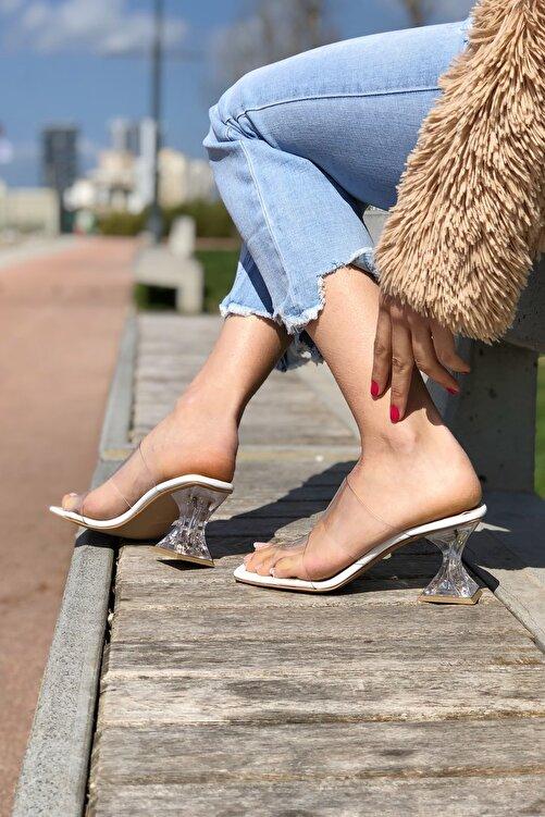Ayakkabı Ateşi Kadın Beyaz Cilt Şeffaf Topuklu Ayakkabı 1