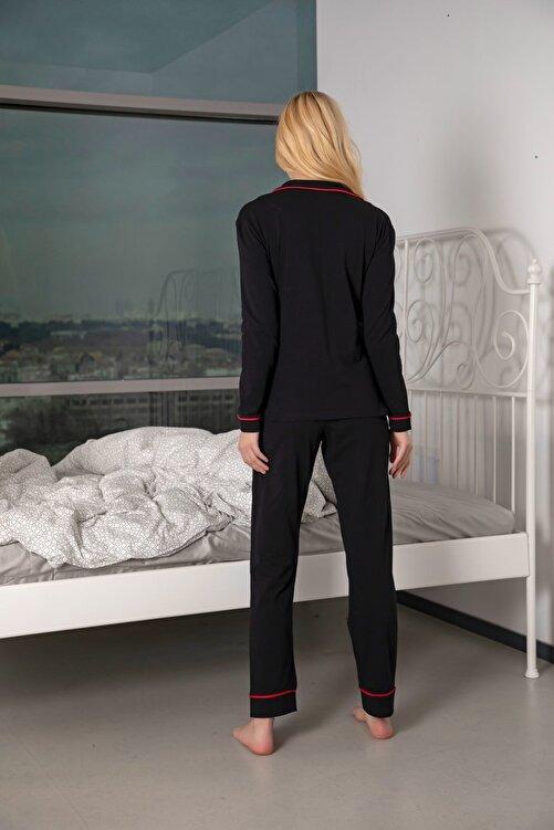 Siyah İnci Kadın Siyah-Kırmızı Pamuklu Likralı Düğmeli Biyeli Pijama Takım 2