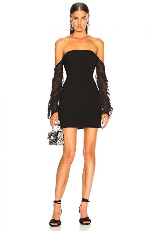 By Umut Design Kadın Siyah Toparlayıcı Etkili Büzgülü Tül Kollu Straplez Elbise 2217026 1