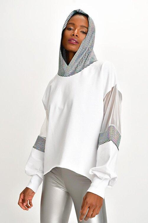 Quincey Kadın Beyaz Işıltılı Sweatshırt 1
