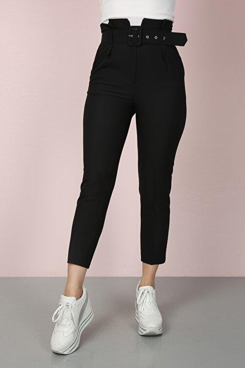 ChiChero Kadın Siyah Havuç Pileli Kalın Kemerli Kumaş Pantolon 2