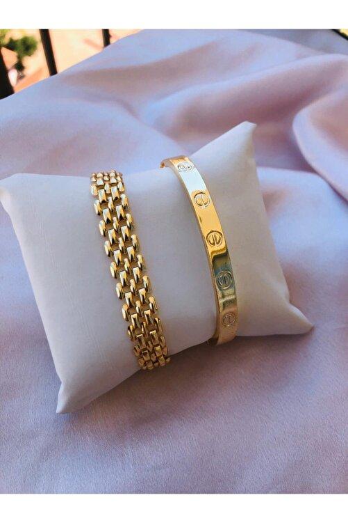 bioaksesuar Kadın Gold Renk Kararmaz Saat Yanı Çelik Bileklik 2