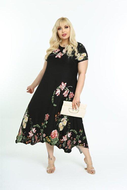 HERAXL Kadın Siyah Asimetrik Kesim Çiçek Desenli Büyük Beden Elbise 2