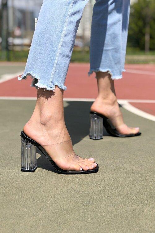 Ayakkabı Ateşi Kadın Siyah Cilt Şeffaf Topuklu Terlik 1