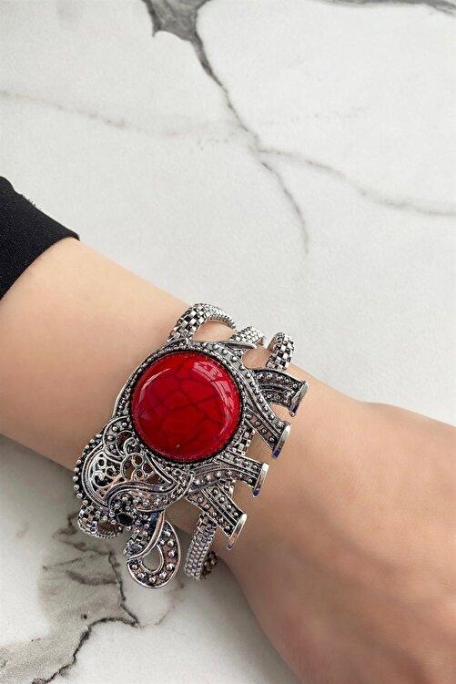 TAKIŞTIR Gümüş Renk Fil Figürlü Kırmızı Renk Taşlı Bileklik 1