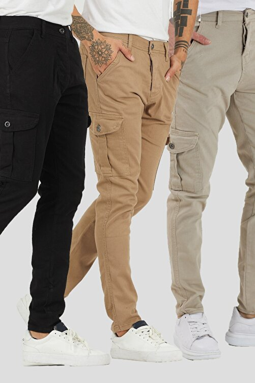 DAMGA JEANS Erkek 3 Renkli Kargo Cep Pantolon 3'lü Paket 1