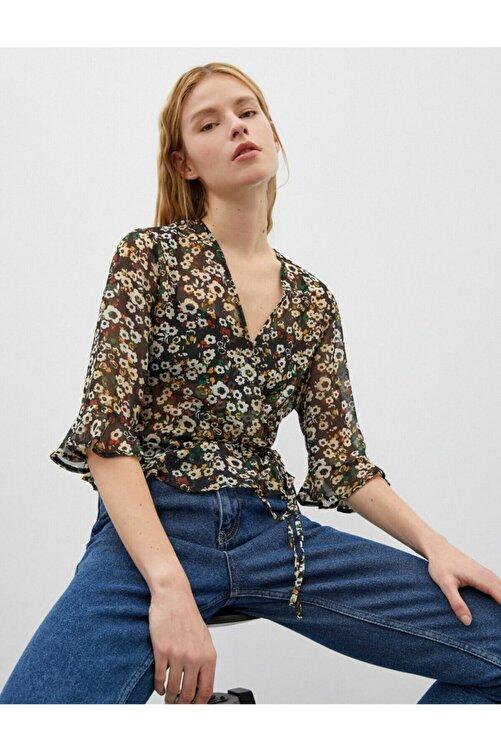 Koton Kadın V Yaka Kruvaze Çiçek Desenli Uzun Kollu Bluz 1