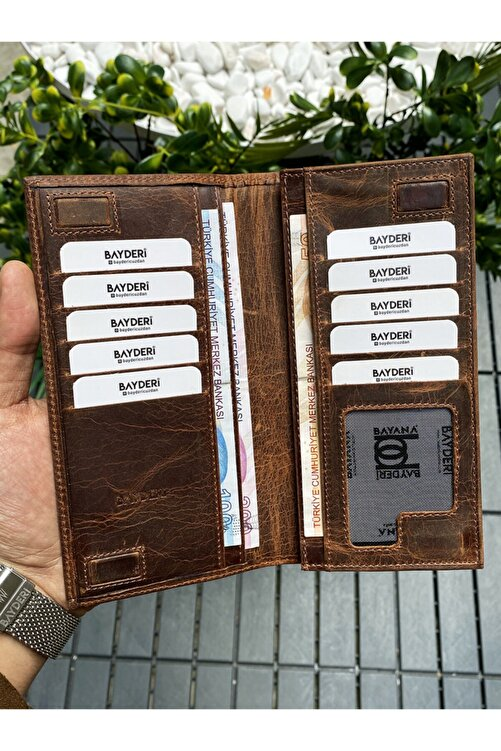 BAYDERİ Mıknatıs Kapaklı Süper Lux Tasarım Hakiki Deri Crazy Taba Telefonlu Cüzdan 2
