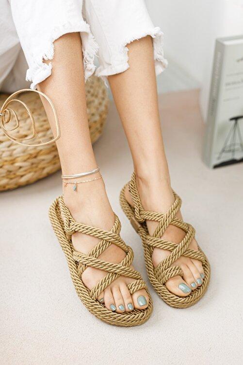 meyra'nın ayakkabıları Halat Sandalet Altın 2