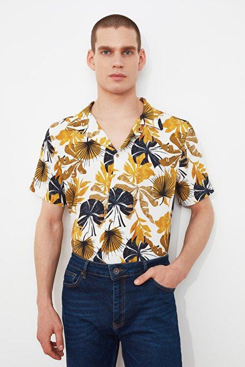 TRENDYOL MAN Hardal Erkek Regular Fit Apaş Yaka Kısa Kol Tropik Gömlek TMNSS21GO0958 2