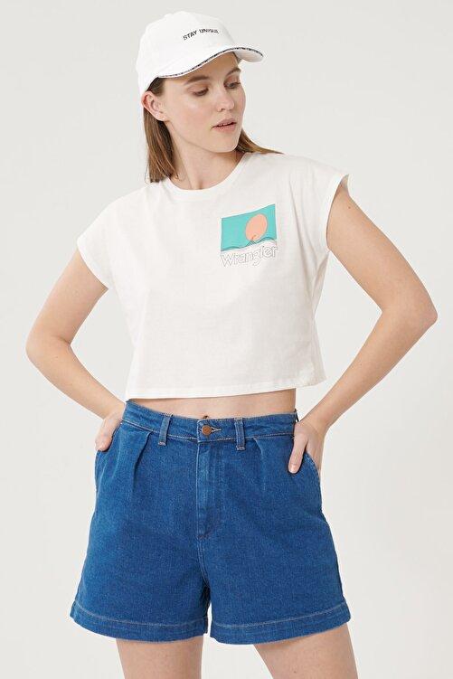 WRANGLER Kadın Kırık Beyaz Kısa Kollu %100 Pamuk Grafik Desenli Sıfır Yaka Tişört 1