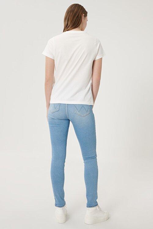 WRANGLER Kadın Açık Mavi High Rise Skinny Fit Denim Esnek Yüksek Bel Jean Kot Pantolon 2
