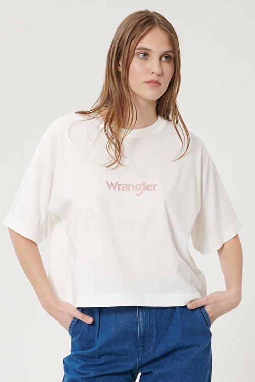 WRANGLER Kadın Kırık Beyaz Kısa Kollu %100 Pamuk Logolu Sıfır Yaka Tişört 1