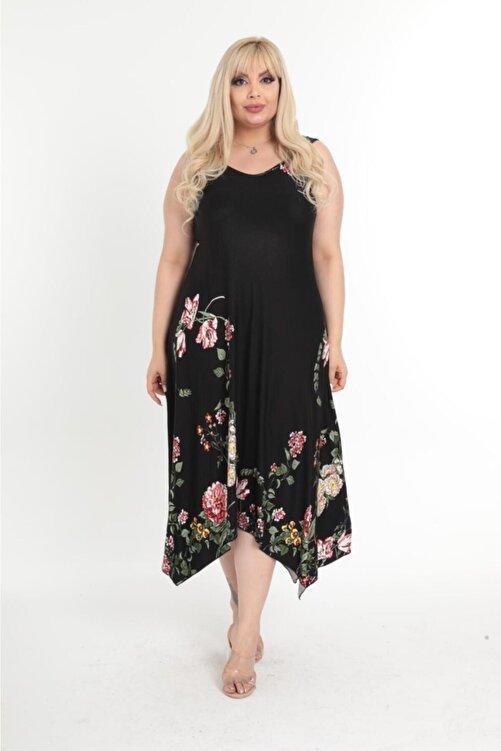 HERAXL Kadın Büyük Beden Siyah Çiçek Desen Askılı Toka Detaylı Elbise 2