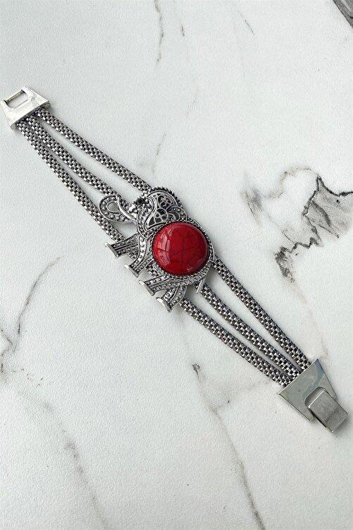 TAKIŞTIR Gümüş Renk Fil Figürlü Kırmızı Renk Taşlı Bileklik 2