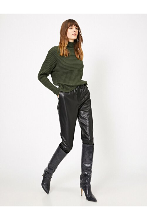 Koton Kadın Beli Bağlamalı Deri Pantolon 1