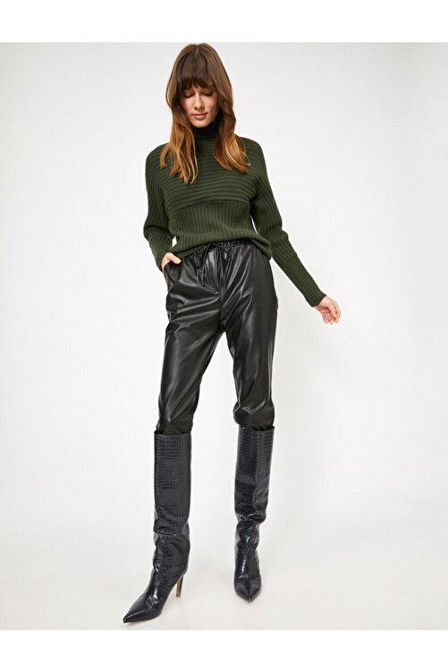 Koton Kadın Beli Bağlamalı Deri Pantolon 2