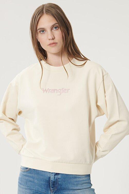 WRANGLER Kadın Huş Ağacı Rengi Regular Fit %100 Pamuk Sıfır Yaka Sweatshirt 1