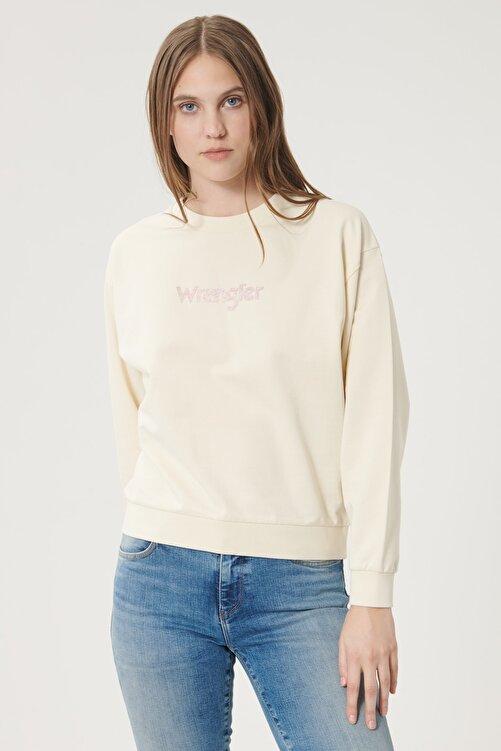WRANGLER Kadın Huş Ağacı Rengi Regular Fit %100 Pamuk Sıfır Yaka Sweatshirt 2