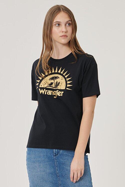 WRANGLER Kadın Siyah Kısa Kollu %100 Pamuk Grafik Desenli Sıfır Yaka Tişört 2