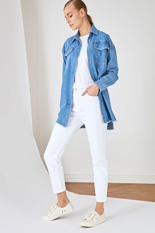 Trendyol Modest Beyaz Yüksek Belli Skinny Jeans TCTSS21JE0622 1