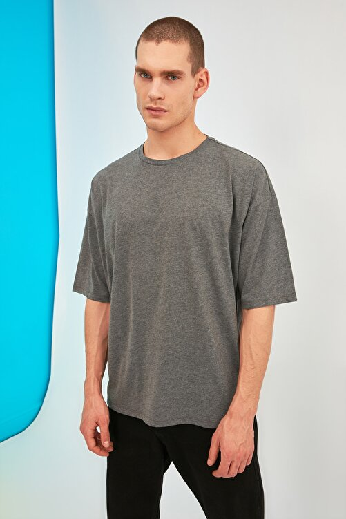 TRENDYOL MAN Antrasit Erkek Oversize Baskılı Kısa Kollu T-Shirt TMNSS21TS0878 2