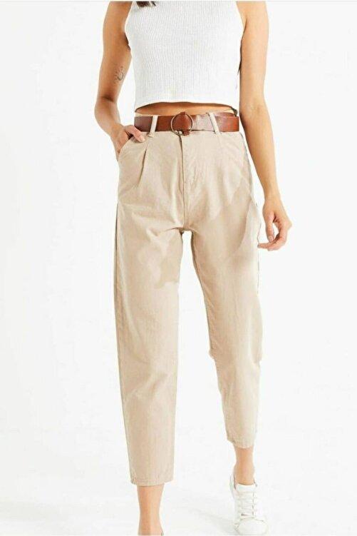Jenska Kadın Bej Deri Kemer Detaylı Yüksek Bel Mom Fit Kanvas Pantolon 2