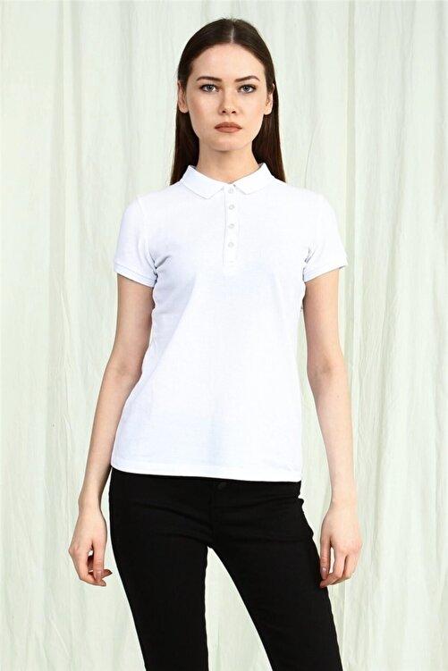 YÜCEL TİCARET Kadın  Beyaz Polo Yaka Kısa Kollu Basic Tshirt 1