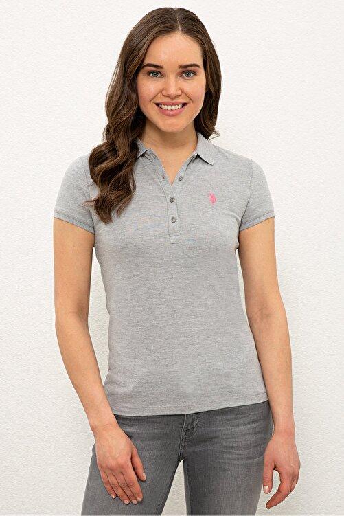U.S. Polo Assn. Grı Kadın T-Shirt 1