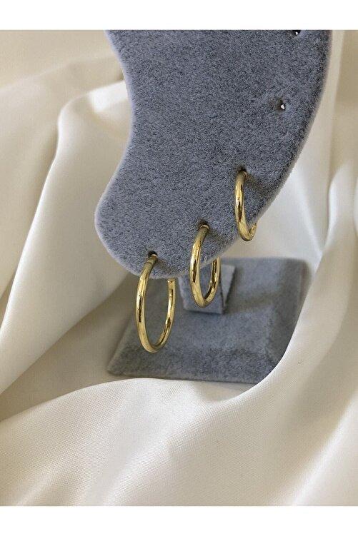 The Y Jewelry Kadın Altın Renk Halka Küpe 3'lü 1