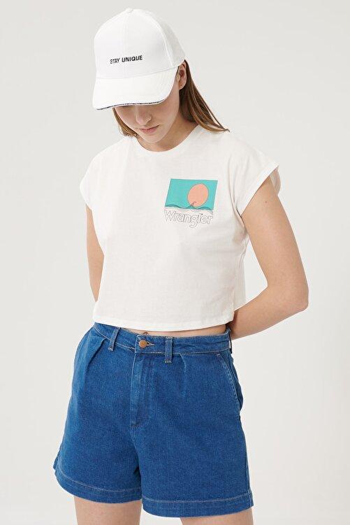 WRANGLER Kadın Kırık Beyaz Kısa Kollu %100 Pamuk Grafik Desenli Sıfır Yaka Tişört 2