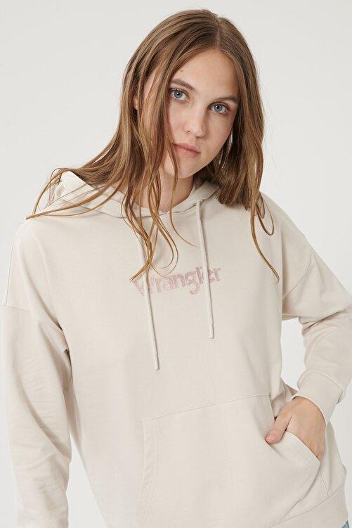WRANGLER Kadın Taş Regular Fit %100 Pamuk Kapüşonlu Logolu Sweatshirt 2