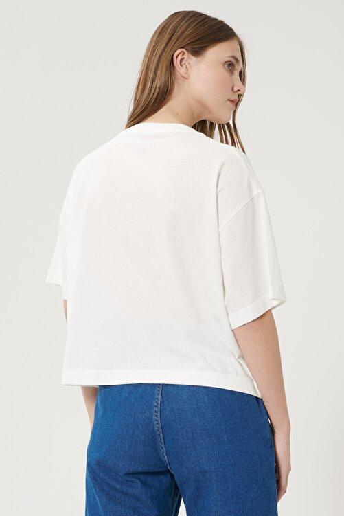 WRANGLER Kadın Kırık Beyaz Kısa Kollu %100 Pamuk Logolu Sıfır Yaka Tişört 2