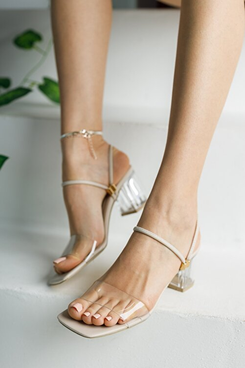 meyra'nın ayakkabıları Ten Şeffaf Terlik ve Sandalet Topuklu Ayakkabı 2