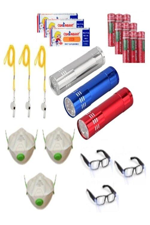 Ayver Deprem Paketi Acil Durum Seti Solunum Toz Maskesi Fener Düdük Işıklı Gözlük Pil Ve Yarabandı Set 1